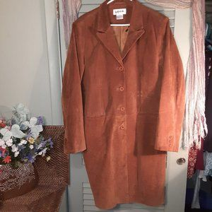 Bagatelle vintage suede leather trench coat sz XL
